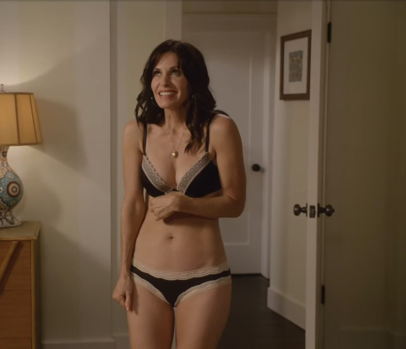Courteney Cox very sexy in bra and panties, Cougar Town video